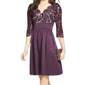 Eliza J Women SZ 8 Purple 3\4 Lace Faille Sleeves